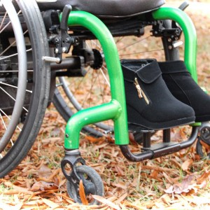 Wheelchair with boots.