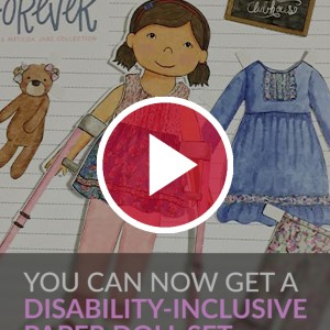 paper doll with disability behind red video play button
