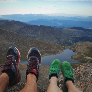 shoes overlooking mountains