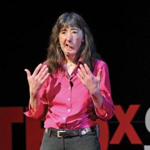Dawn Shaw giving a TEDx talk.