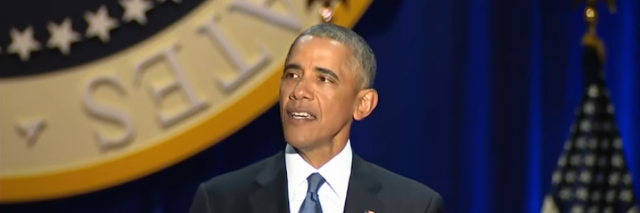 former president barack obama giving his farewell address in chicago