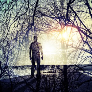Double exposure abstract conceptual photo collage, man standing on the coast, shining sun and tree branches pattern