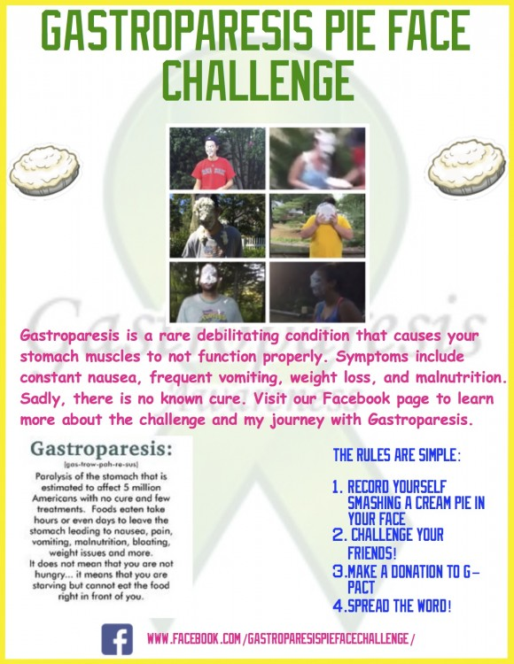 information about gastroparesis pie in the face challenge