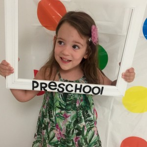 young girl on her first day of preschool