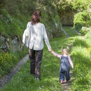 mother and daughter walking in nature