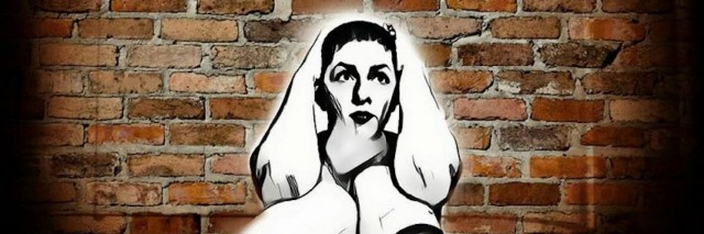 An illustration of a ghost with its hands around its throat as it stands in front of a brick wall