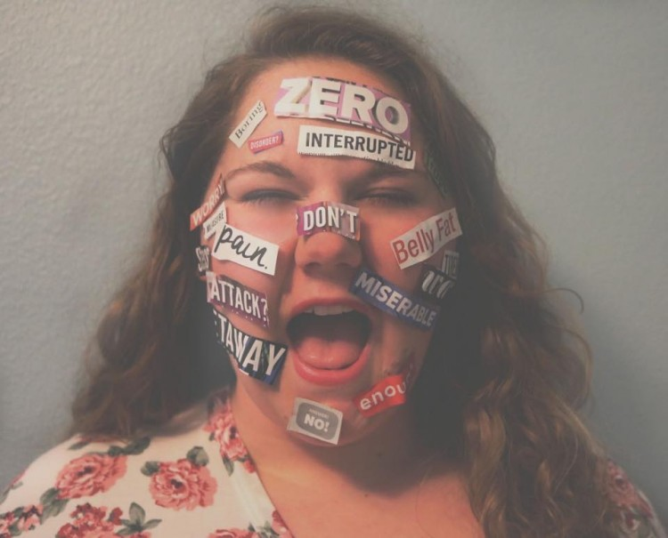 A woman with negative words on her face