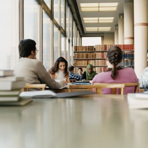 students studying in library together