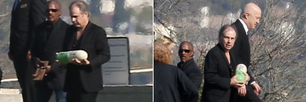 "Two shots of Carrie Fisher's brother holding her ""Prozac pill"" urn"