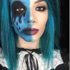Two images of girl with make up on one side of their faces
