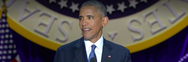 President Obama delivering his farewell address