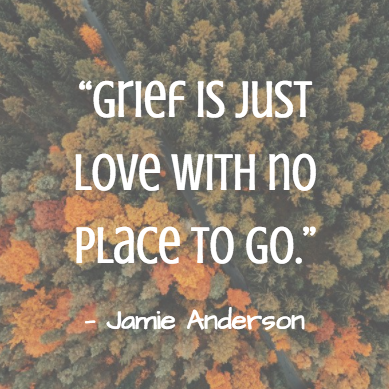 grief meme that says grief is just love with no place to go