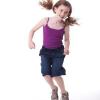 ABL Denim Girls Jeans and young girl wearing boardshorts
