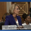 Splitscreen of CSPAN coverage showing Betsy DeVos and Sen. Hassan.