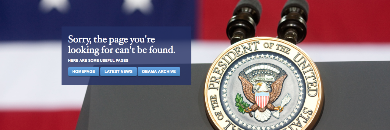 "Image of a ""page not found"" page on the new Whitehouse.gov website"