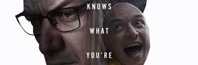 """Promotional image for """"Split"""" featuring two men with pained expressions looking forward."""