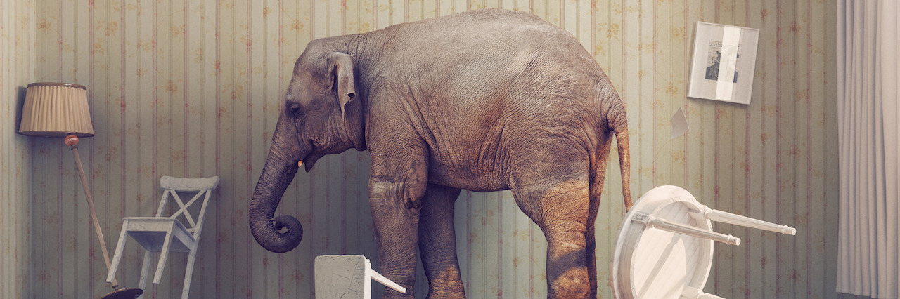An elephant in a disheveled room with furniture turned upside down