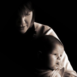 Mother with Baby, Black and White Low Key