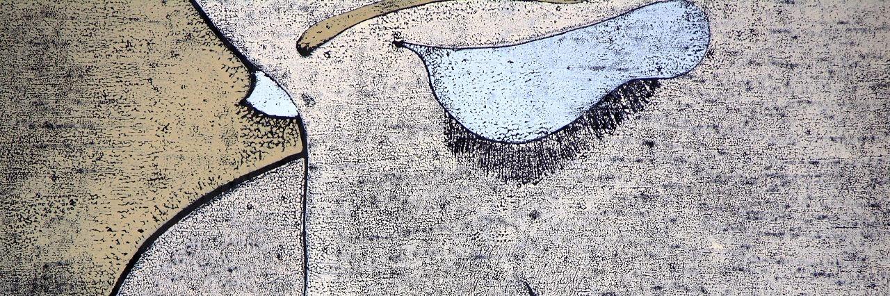 Woodprint of a sad woman portrait