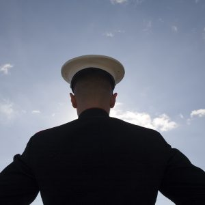 Back view of a soldier