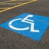 Low-angle close-up of a handicapped parking space