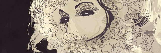 Womans face with long hair surrounded by flowers. EPS10 File