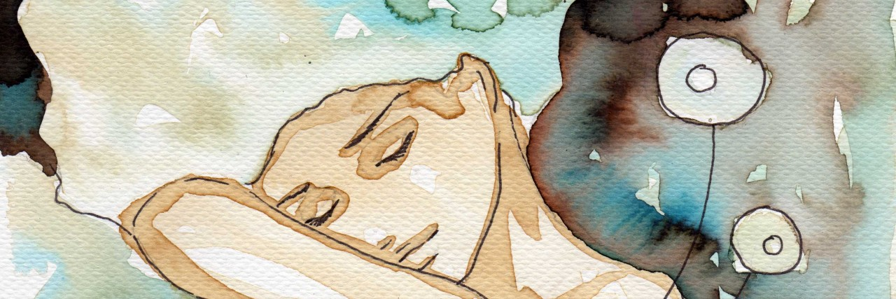Watercolor painting of a girl sleeping