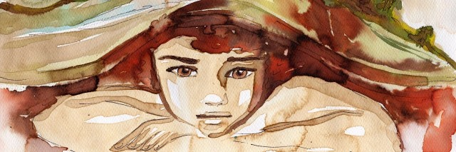 watercolor illustration depicting a portrait of a beautiful child