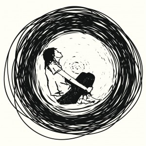 An illustration of a woman curled up in a black circle