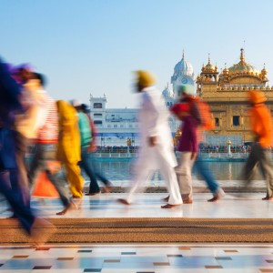 Group of people walking in India