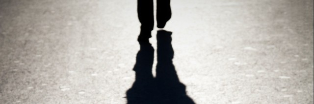 The shadow of a person walking.
