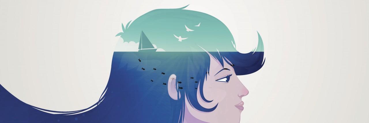 Double exposure girl illustration