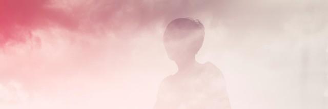 Illustration of person walking through pink fog