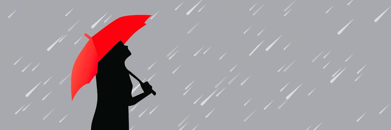 Illustration of woman holding red umbrella under gray sky with rain