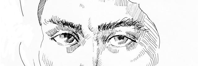 Line art portrait of man