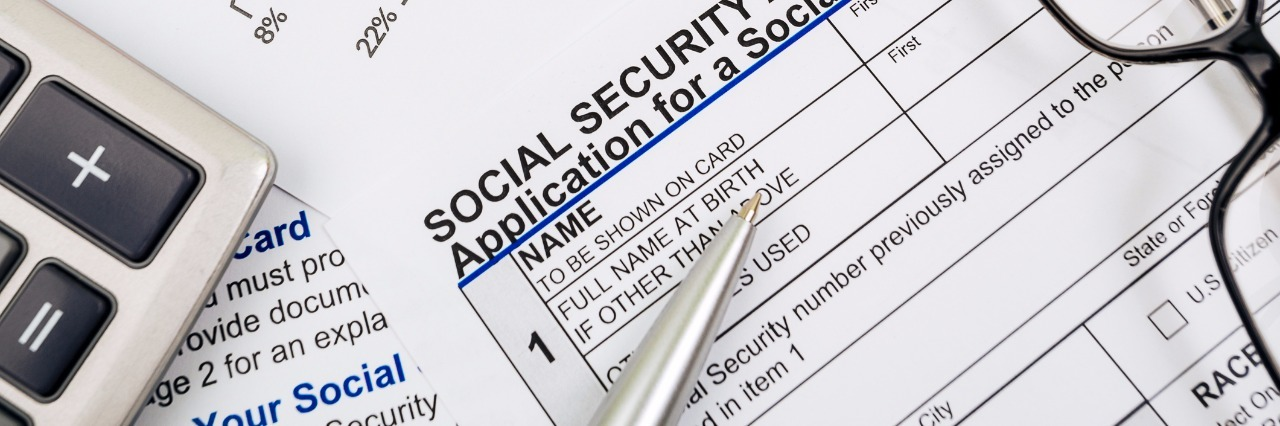 Close up of Social Security application.