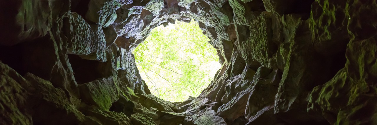 Bottom view from the round narrow cave
