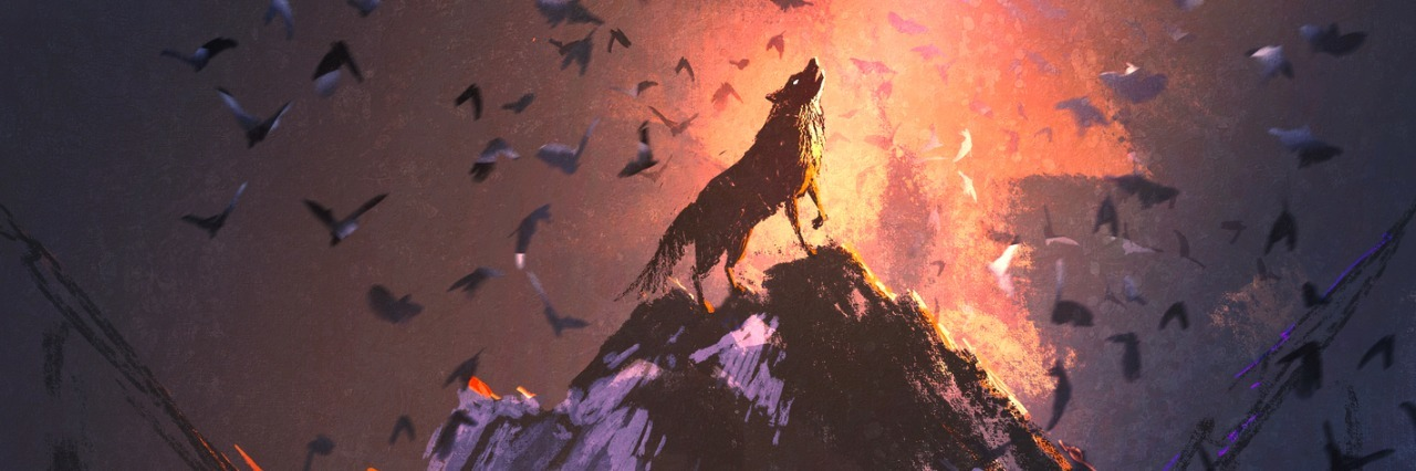 illustration of a wolf howling at a mountain