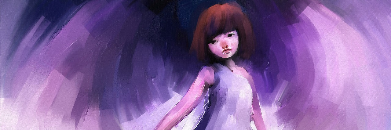 digital painting of girl dressed as an angel, oil on canvas texture