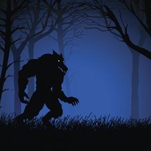 Illustration of werewolf walking in woods at night