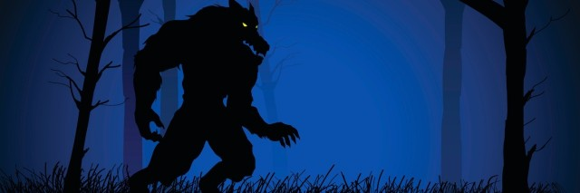 Illustration of werewolf walking in woods at night