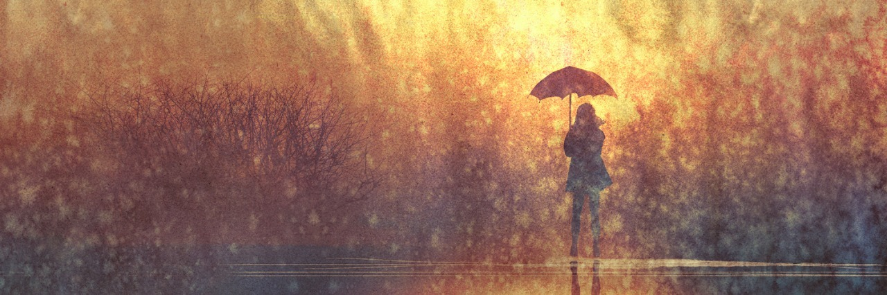 Illustration of woman with umbrella standing near lake on a hazy winter day