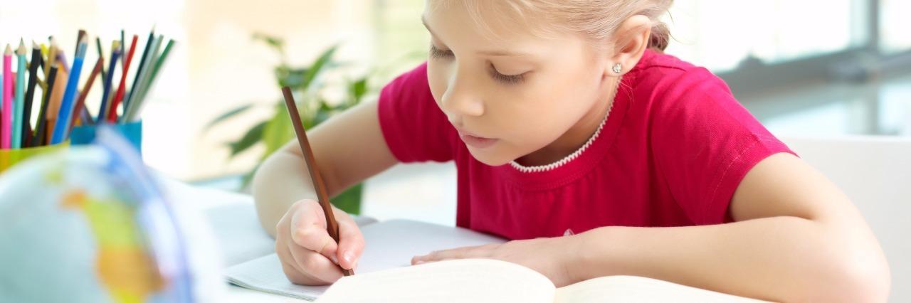 Girl studying.