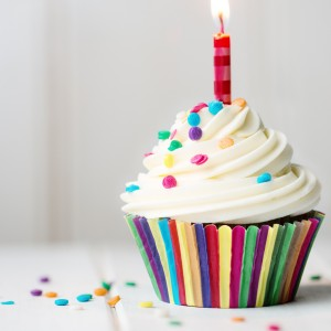 Birthday cupcake with single lit candle