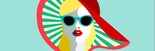 Beautiful young woman with sunglasses, retro style. Pop art. Summer holiday concept