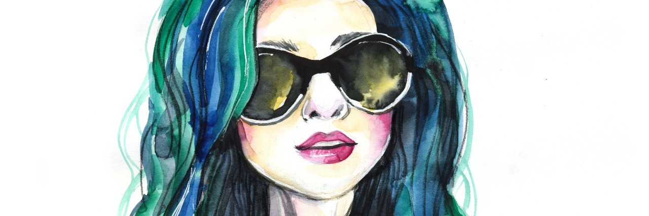 Watercolor fashion girl with sunglasses