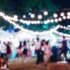a blurry outside party scene