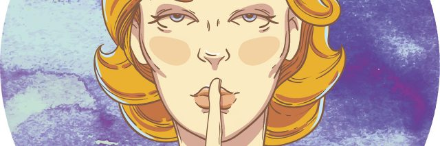 An illustration of a woman with a finger over her lips, making a shhh gesture