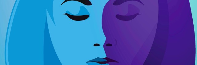 Illustration of woman with eyes closed in shades of blue and purple