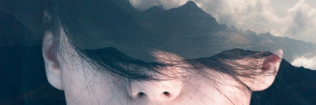 abstract photo of a woman with cloud coming out of her head